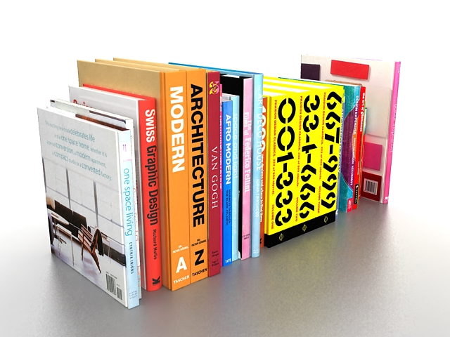 Library Books 3d Model