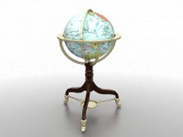 Antique world globe 3d model