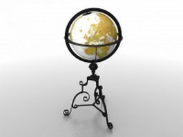 Yellow world globe 3d model