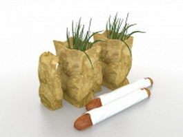 Vegetables and baguette 3d model