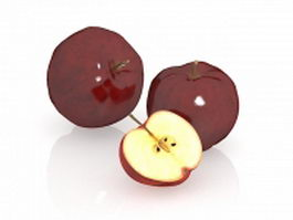 Red apples and its cross section 3d preview