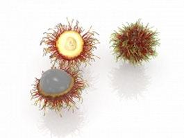Rambutan fruit and cut open 3d model