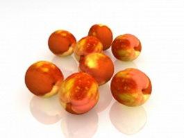 White peach fruits 3d model