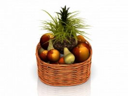 Fresh fruit basket 3d model