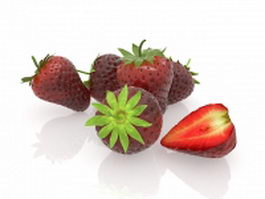 Strawberry fruit with cross section 3d model