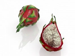 Pitahaya fruit with cross section 3d model