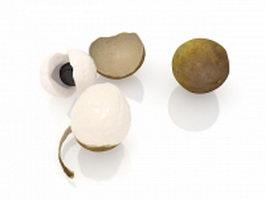 Longan fruit and peeled 3d model