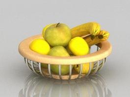 Banana apple fruit basket 3d model