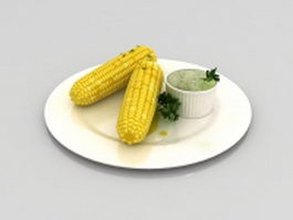 Boiled corn on the cob 3d model