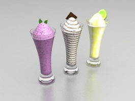 Three cups of ice cream 3d model
