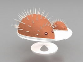 Chocolate hedgehog dessert 3d model