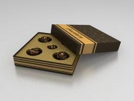 Box of chocolate balls 3d model