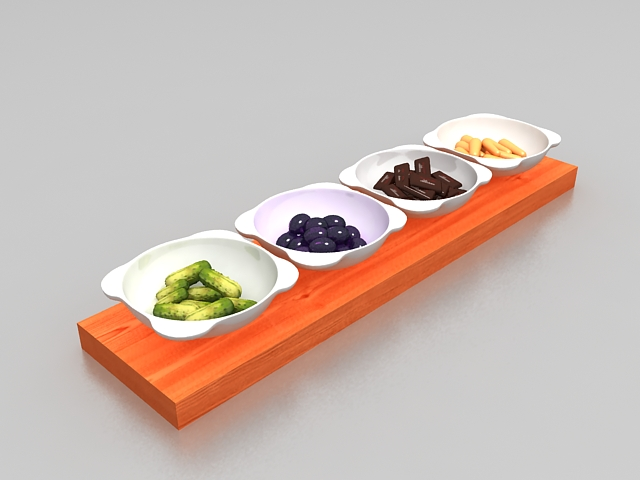Korean food side dishes 3d model 3ds max files free for Food bar 3d model
