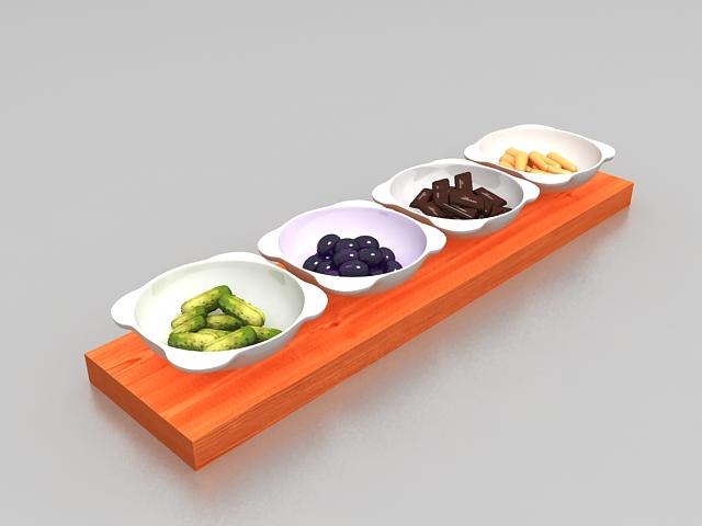 Korean food side dishes 3d model 3ds max files free for Food bar 3d model