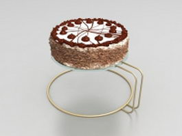 Chocolate cake on rack 3d model