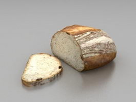 Bread with slice 3d model