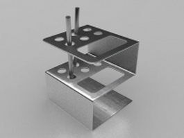 Stainless steel pen holder 3d model