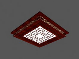 Wood edge Chinese antique ceiling lighting 3d model