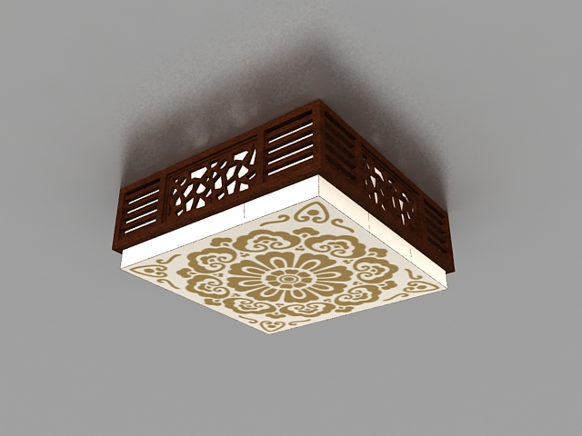 Japanese style ceiling light 3d model 3ds max files free download