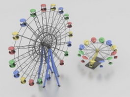 Two Ferris wheels 3d model