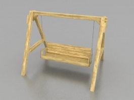 Wood garden swing 3d model