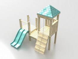 Playground wooden playhouse with slide 3d model