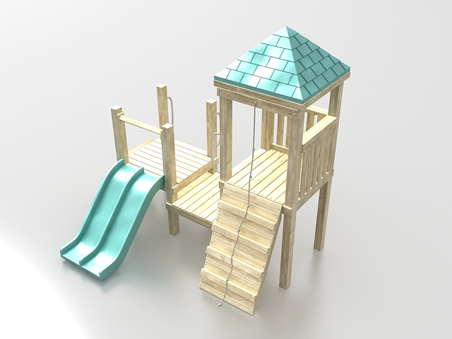 Playground Wooden Playhouse With Slide 3d Model 3ds Max