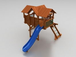 Kids outdoor wooden playhouse 3d model