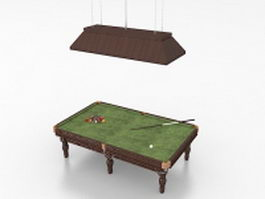 Billiard table with top lights 3d model