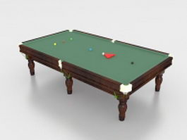 Snooker table with balls 3d model