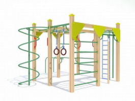 Adult outdoor gym equipment 3d model