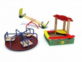 Playground roundabout seesaw and sandpit 3d model