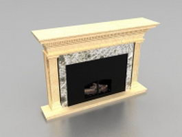 Beige limestone fireplace 3d model