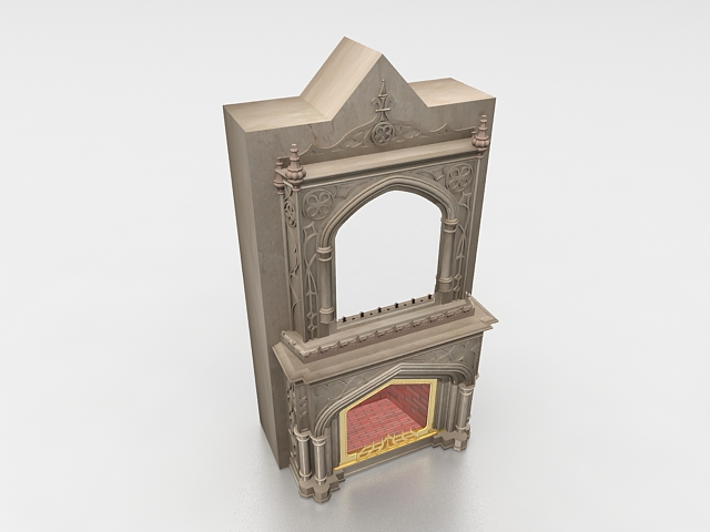 Antique fireplace mantels with mirror 3d model 3ds max ...