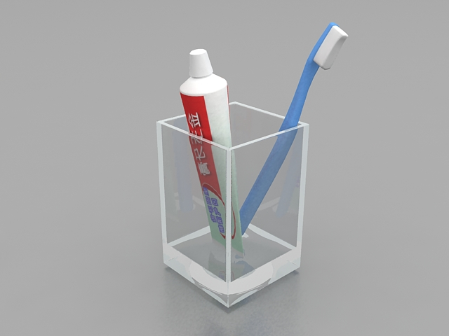 Toothbrush And Toothpaste In Glass 3d Model 3ds Max Files