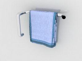 Blue towel on rack 3d model