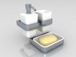 White bathroom accessories sets 3d model