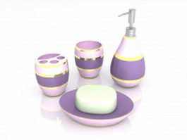 Purple bathroom sets and accessories 3d model