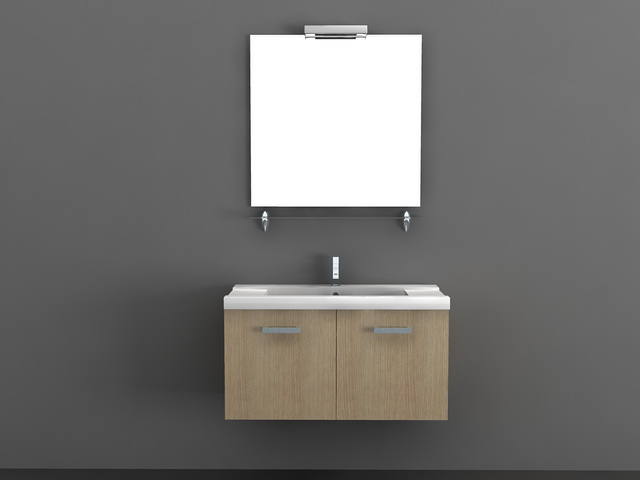 Wall mounted sink cabinet with mirror 3d model files free download ...