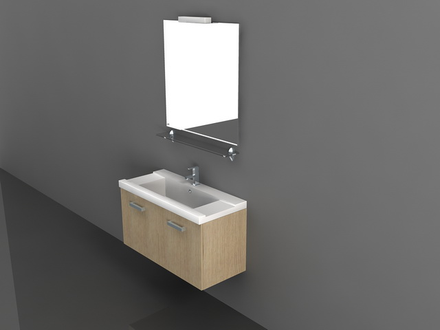 bathroom wall mounted sink cabinet and mirror 3d model for 3d max and