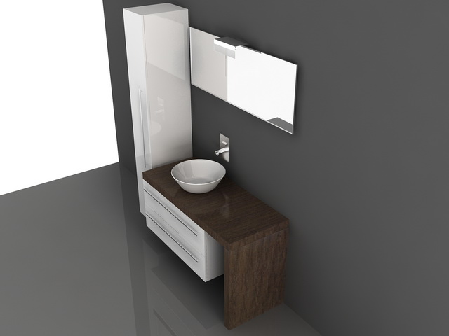 Bathroom vanity cabinets with tops 3d model 3d studio 3ds for Bathroom design 3d model