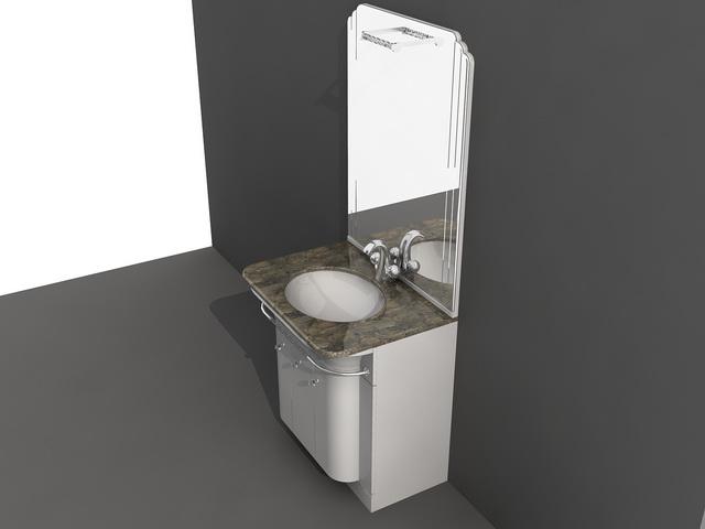 Small bathroom vanity combo 3d model 3d studio 3ds max - Bathroom vanity and mirror combo ...