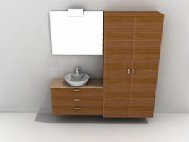 Bathroom vanity with matching linen cabinet 3d model