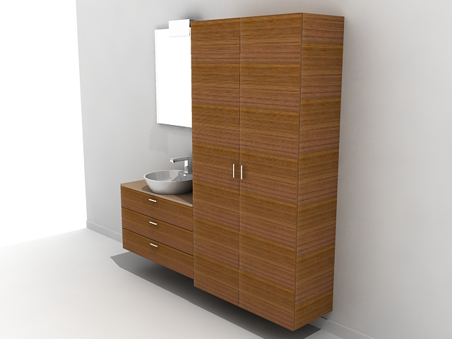 Bathroom Vanity With Matching Linen Cabinet 3d Model 3d Studio 3ds Max Autocad Drawing Files