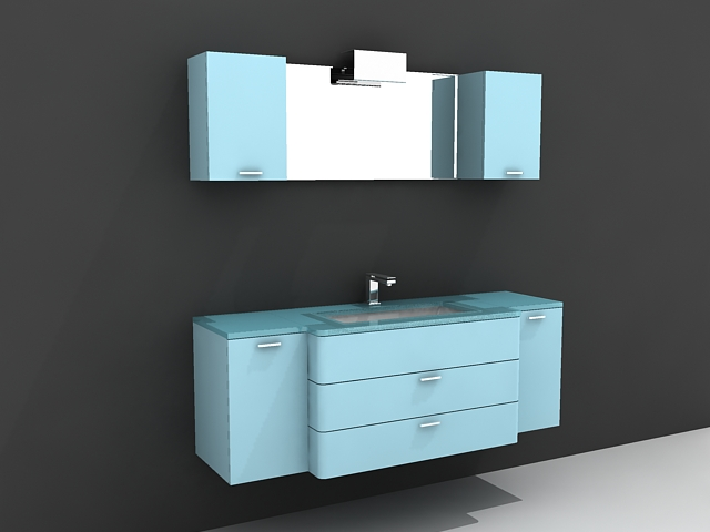 blue bathroom vanity with matching wall cabinet 3d model