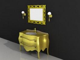Gold bathroom vanity and mirror set 3d model