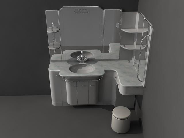 Bathroom Fixtures Dwg corner bathroom vanity set 3d model 3d studio,3ds max,autocad