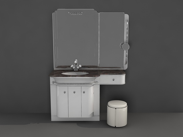 Bathroom vanity with makeup area 3d model. Bathroom vanity with makeup area 3d model 3D Studio 3ds max