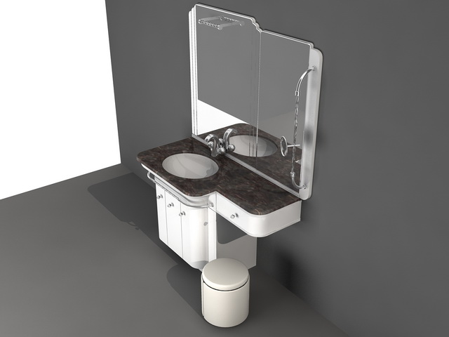 Bathroom Vanity With Makeup Area 3d Model 3d Studio 3ds