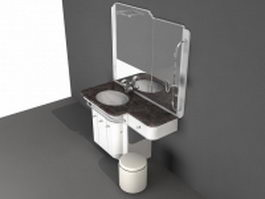Bathroom vanity with makeup area 3d preview